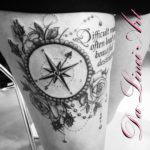 Da Linci Art Tattoo Compass with roses, kompas met rozen
